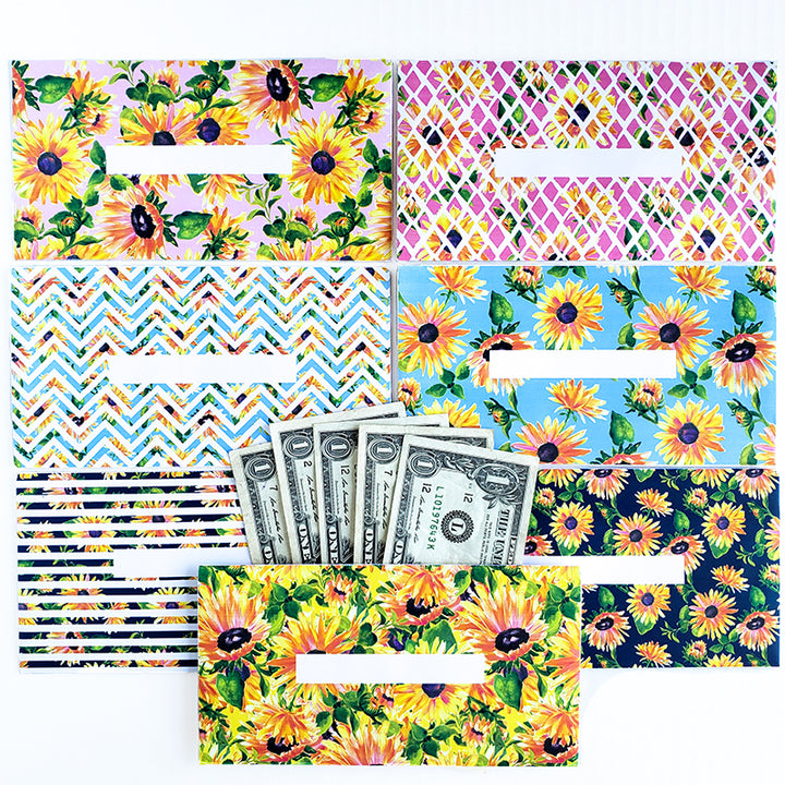 Sunflower Design Horizontal Cash Envelopes (Printable)