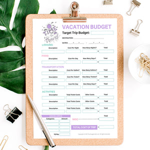 Vacation Budget & Packing List Printables