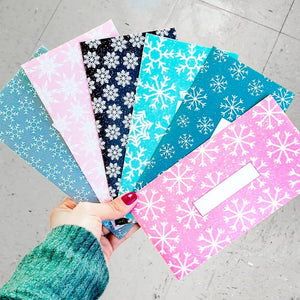 Snowflake Design Horizontal Cash Envelopes (Printable)