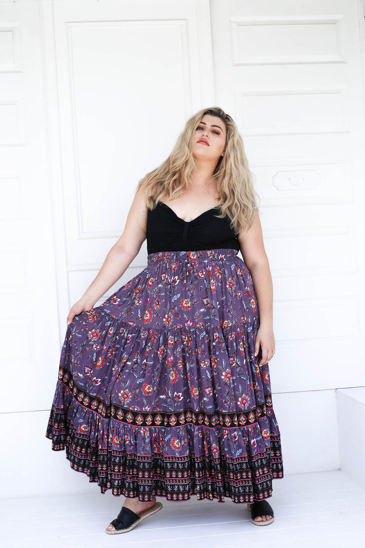 Delilah Full Maxi Skirt // Lilac Multi