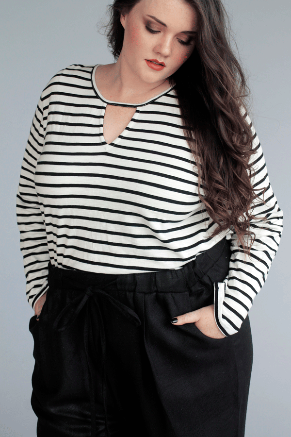 Relaxed Keyhole Top // Stripe