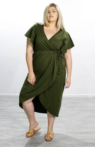 Tulip Wrap Dress // Olive