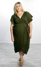 Load image into Gallery viewer, Tulip Wrap Dress // Olive