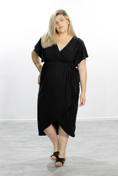 Tulip Wrap Dress // Black