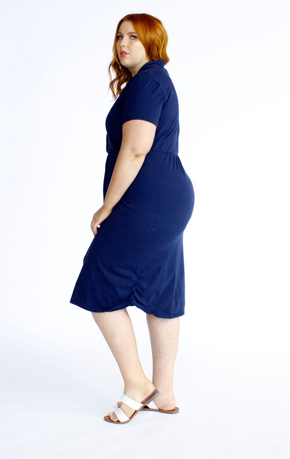 Harper Midi Wrap Dress // Navy