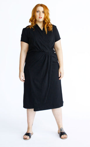 Harper Midi Wrap Dress // Black