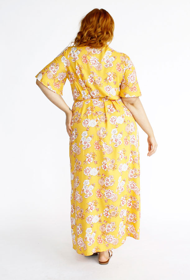 Hadley Maxi Wrap Dress // Yellow Blossom