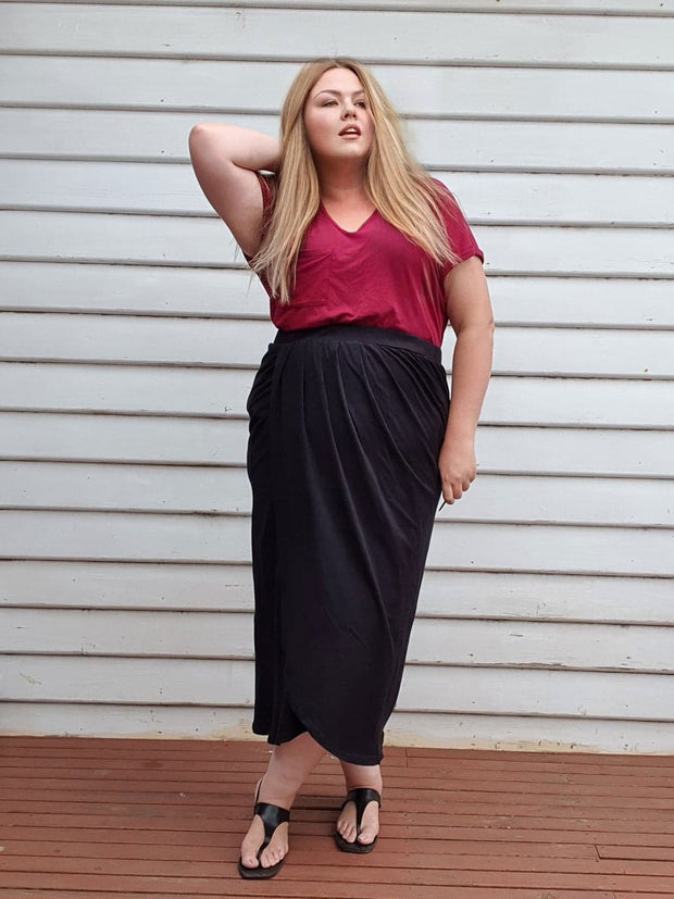 Tulip Wrap Skirt // Black