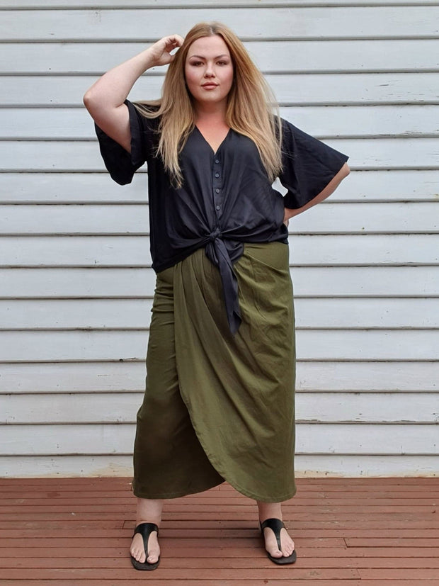 Tulip Wrap Skirt // Fatigue