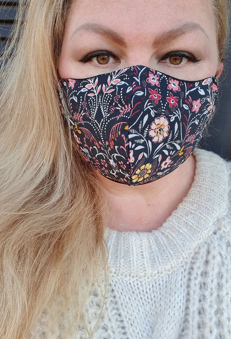 Face Mask - Black Floral Multi- Custom Printed- Hand Made