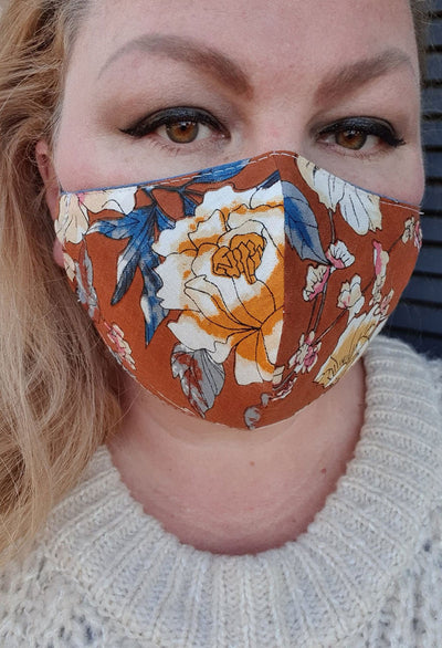 Face Mask - Cinnamon Floral - Custom Printed- Hand Made