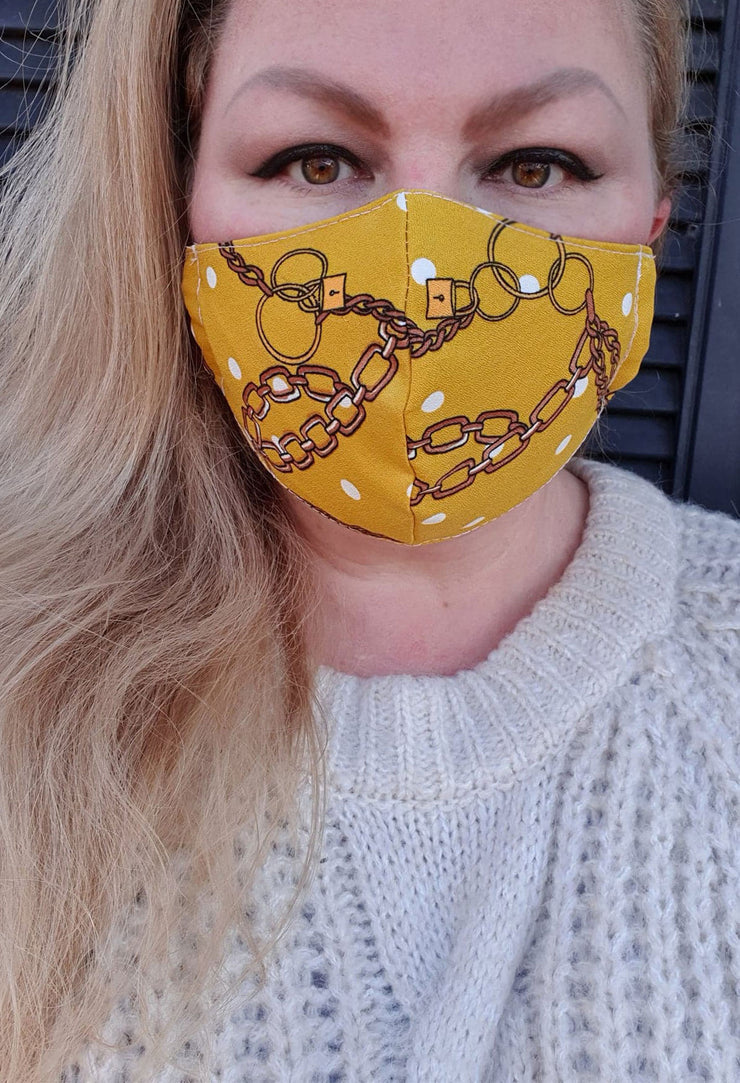 Face Mask - Gold Chain- Custom Printed- Hand Made