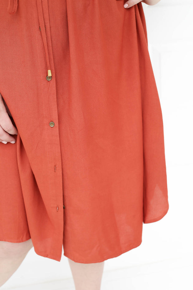 Greta Shirt Dress // Rust