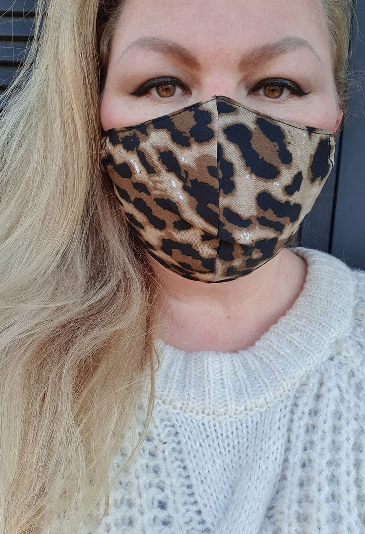 Face Mask - Leopard - Custom Printed- Hand Made