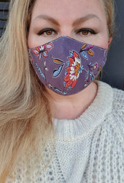 Face Mask - Lilac Multi- Custom Printed- Hand Made