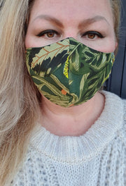Face Mask - Lotus Print- Custom Printed- Hand Made
