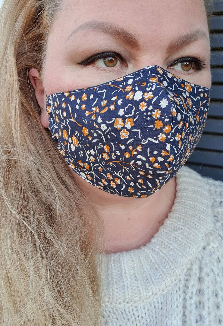 Face Mask - Paper Daisy - Custom Printed- Hand Made