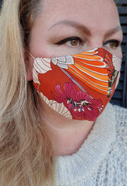 Face Mask - Rust Vintage - Custom Printed- Hand Made