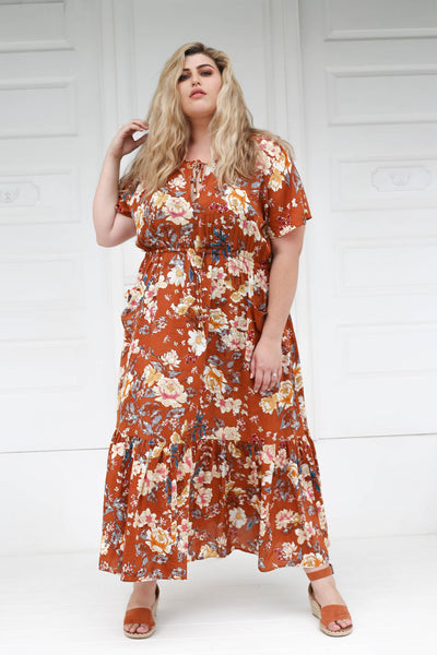 Tropical Maxi Dress // Cinnamon Floral