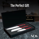 Ceramic Knife Set - 3 Pcs Chef Kitchen Knives Santoku And Paring - Elegant Box