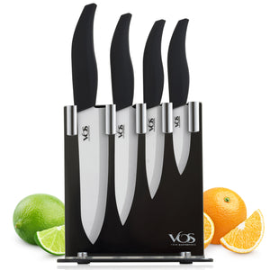 Ceramic 4 Pcs Knife Set with Knives Holder