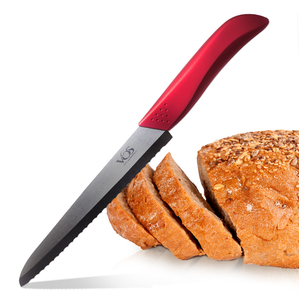 Ceramic Bread Knife - 8 Inch - Red Handle