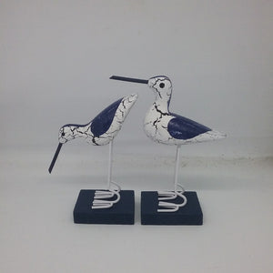 Seagull statues blue and white pair