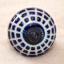 Load image into Gallery viewer, Hand Painted Antique Ceramic Door Drawer Knob - Royal Blue Checkerboard - Beths Emporium