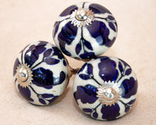 Load image into Gallery viewer, Hand Painted Antique Ceramic Door Drawer Knob - Royal Blue Fleur de Lis - Beths Emporium