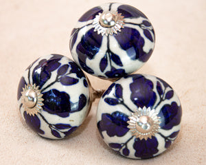 Hand Painted Antique Ceramic Door Drawer Knob - Royal Blue Fleur de Lis - Beths Emporium