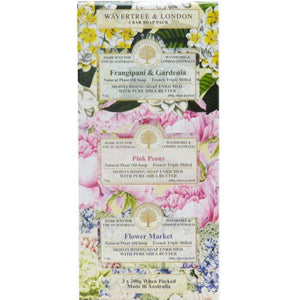 Frangipani and Gardenia, Pink Peony and Flower Market Trio Soap Gift Set - Beths Emporium