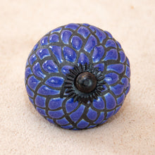Load image into Gallery viewer, Hand Painted Antique Ceramic Door Drawer Knob - Navy Dahlia - Beths Emporium