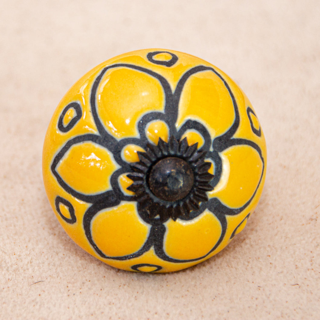 Hand Painted Antique Ceramic Door Drawer Knob - Golden Garden - Beths Emporium
