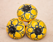 Load image into Gallery viewer, Hand Painted Antique Ceramic Door Drawer Knob - Golden Garden - Beths Emporium