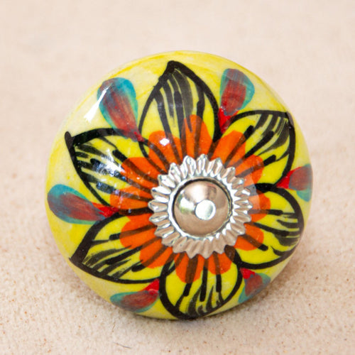 Antique Hand Painted Ceramic Door Drawer Knob - Fire Flower - Beths Emporium