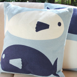 Embroidered Cushion Cover - Pair of Fish 40x40cm - Beths Emporium