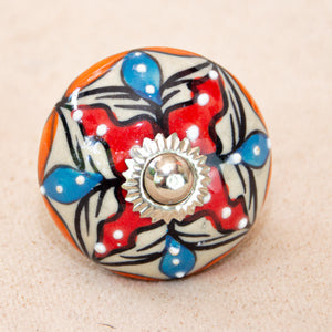 Hand Painted Antique Ceramic Door Drawer Knob - Colourful Carnival - Beths Emporium