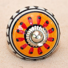 Load image into Gallery viewer, Hand Painted Antique Ceramic Door Drawer Knob - The Beat Goes On - Beths Emporium