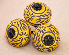 Load image into Gallery viewer, Hand Painted Ceramic Door Drawer Knob ..Sunny Floral Garland - Beths Emporium