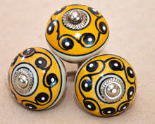 Load image into Gallery viewer, Hand Painted  Antique Ceramic Door Drawer Knob - Yellow Cinnamon Scroll - Beths Emporium