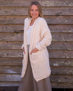 Chunky Knit Cardigan - with knotted trim - Beths Emporium