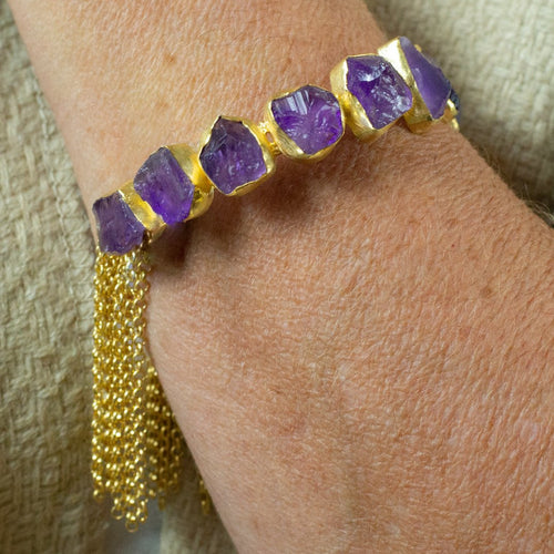 Hand Crafted Amethyst Bracelet - One Off Handmade -  Flexible Sizing - Beths Emporium