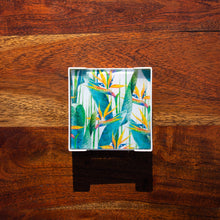 Load image into Gallery viewer, Set of Glass Coasters - Tropical Garden - Bird of Paradise - Beths Emporium