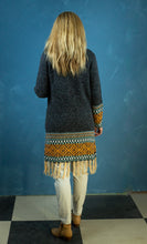 Load image into Gallery viewer, Cardigan - Long Line Charcoal & Orange Tassel - Beths Emporium