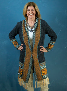Cardigan - Long Line Charcoal & Orange Tassel - Beths Emporium