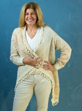 Load image into Gallery viewer, Cardigan - Cream & Salmon Gold Fleck Tassel - Beths Emporium
