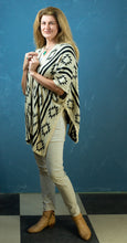 Load image into Gallery viewer, Cardigan - Aztec Black & White Shawl - Beths Emporium