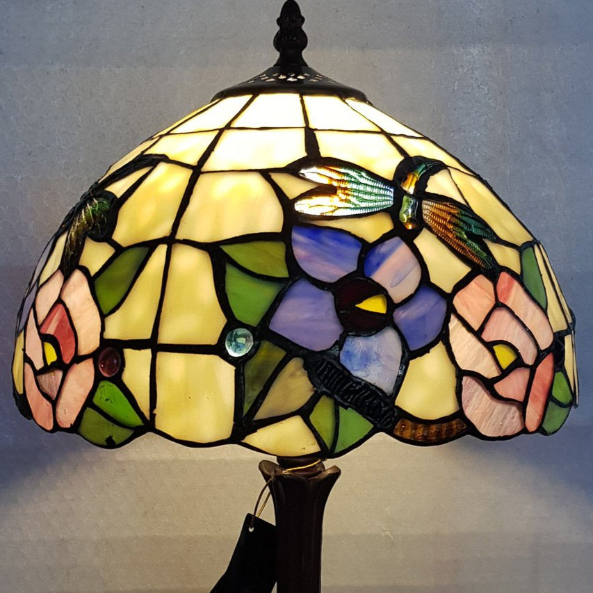 Leadlight Style Crystal Dragonfly Table Lamp - Beths Emporium