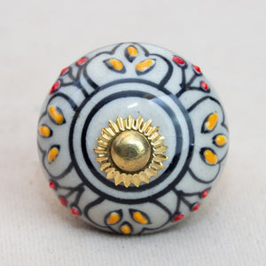 Hand Painted Antique Ceramic Door Drawer Knob - Queen's Court - Beths Emporium