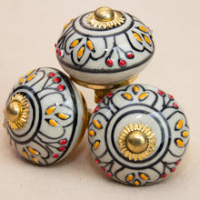 Load image into Gallery viewer, Hand Painted Antique Ceramic Door Drawer Knob - Queen's Court - Beths Emporium